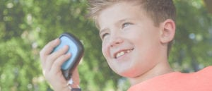 happy kid with wearable relay loop case